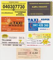 1352(2) TAXI, 7 Cards / Cartes / Tarjetas / Carte: Italy (2), France (1), Slovenia (1), Estonia (2), Belgium (1). - Billetes De Transporte