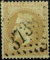 FRANCE Y&T N°28Ba Napoléon 10c Bistre Foncé. Oblitéré Losange GC N°3739 - 1862 Napoléon III