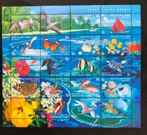 Cocos Keeling Islands MS Souvenir Sheet Nature Flower Butterfly Birds Turtle Coral Sea Beach Fish - Cocos (Keeling) Islands