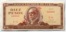 Cuba DIEZ PESOS 1967, SPECIMEN, Billete Gem-UNC. Primera Década De La Revolución Cubana. - Cuba