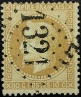 FRANCE Y&T N°28A Napoléon 10c Bistre-brun. Oblitéré Losange GC N°1321 - 1863-1870 Napoléon III Lauré
