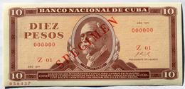 Billete De (10) DIEZ PESOS Cuba 1971, SPECIMEN, Gem-UNC. Primeros Años De La Revolución. - Cuba