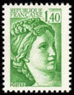 France Sabine De Gandon N° 2154 A ** Le 1.40 Fr Vert Gomme Tropicale (Variété) - 1977-81 Sabine Of Gandon