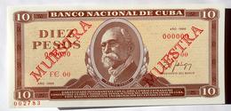 Billete MUESTRA De CUBA 1988, (SPECIMEN), De DIEZ PESOS, Crispy Gem-UNC. últimos Años De Este Diseño. - Cuba