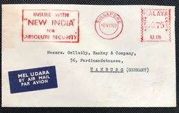 Singapore Malaya 1962 Meter Franking Cover With INDIA SLOGAN Indian Theme Airmail Label - Singapore (1959-...)