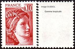 France Sabine De Gandon N° 1965,a ** Variété Du 0.10fr Rouge Brun -> Gomme Tropicale - 1977-81 Sabine De Gandon
