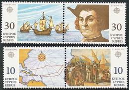 Cyprus,  Scott 2018 # 799a,801a,  Issued 1992,  2 Horz Pair,   MNH,  Cat $  5.50,  Columbus - Cyprus (Republic)