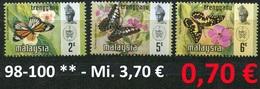 Malaysia - Trengganu - Michel 98-100 - ** Mnh Neuf Postfris - Schmetterlinge Butterflies Papillons - Malaysia (1964-...)