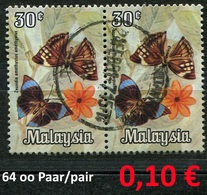 Malaysia - Michel 64 Im Paar / Pair - Oo Oblit. Used Gebruikt - Schmetterlinge Butterflies Papillons - Malaysia (1964-...)