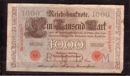 69d * REICHSBANKNOTE * 4000409G VOM 21.4.1910  * EIN TAUSEND MARK/1000 * GEBRAUCHT ** !! - [ 2] 1871-1918 : Empire Allemand