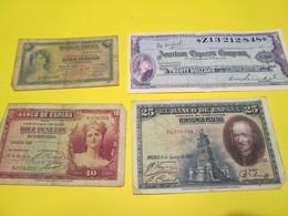 Lot De 3 Billets De Banque Espagnole Et Un American Express Company - Billets