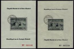 Belgien Belgie 1942 - Musikstiftung Der Königin Elisabeth - Waterloo - MiNr 594A-595A Block I+II - Perfo - Musik