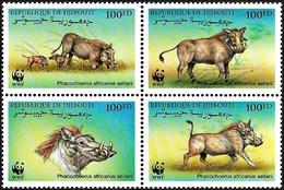 Djibouti 2000, WWF Eritrean Warthog - 4 V. MNH - W.W.F.