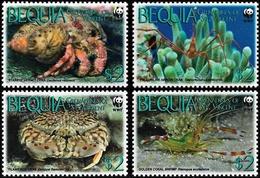 Bequia 2009, WWF Marine Life Crabs - 4 V. MNH - W.W.F.