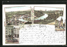 Lithographie Bern, Nydeckbrücke, Eisenbahnbrücke, Marktgasse - BE Berne