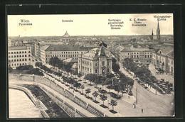 AK Wien, Panorama Mit Rotunde, Rettungsgesellschaft Radetzky Strasse, K. K. Staats-Ober-Realschule - Wien