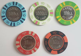 Lebanon - Casino Du Liban Late 1980s 5 Diff Jetons Tokens Coins - Rare Chips Set - Lebanon