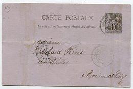 DEUX SEVRES De GOURGE Dateur T 25 Sur Entier Sage Du 22/01/1890 - Marcophilie (Lettres)