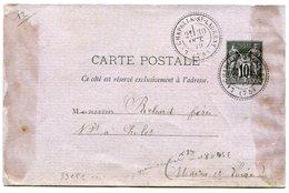 DEUX SEVRES De LA CHAPELLE SAINT VINCENT Dateur T 24 Sur Entier Sage Du 30/10/1879 - Marcophilie (Lettres)