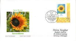 """BRD Schmuck-FDC  Freimarke Blumen """"Sonnenblume"""", Mi. 2434 ESSt 3.1.2005 BONN - BRD"""