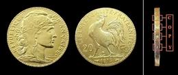 COPIE - 1 Pièce Plaquée OR Sous Capsule ! ( GOLD Plated Coin ) - France - 20 Francs Marianne Coq 1914 - L. 20 Francs
