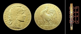 COPIE - 1 Pièce Plaquée OR Sous Capsule ! ( GOLD Plated Coin ) - France - 20 Francs Marianne Coq 1914 - France