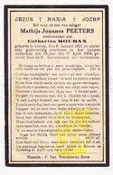 DP Mathijs J. Peeters ° Kinrooi 1851 † 1934 X Cath. Moubax - Images Religieuses