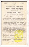 DP Petronella Peeters ° Kinrooi 1893 † 1935 X Mathijs Bertjens - Images Religieuses
