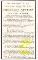 DP Philomène Nuytens ° Hollebeke 1882 † Ieper 1938 X August Lemay - Images Religieuses