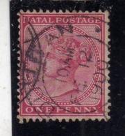 NATAL 1874 1878 QUEEN VICTORIA REGINA VITTORIA ONE PENNY 1p USATO USED OBLITERE' - Sud Africa (...-1961)