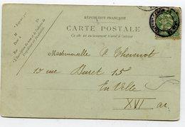PARIS Dateur évidé BD MONTPARNASSE Sur CP Nouvel An 1907 ( 2 Scans) - Marcophilie (Lettres)