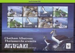 Nfa018MSb WWF FAUNA VOGELS CHATHAM ALBATROSS BIRDS VÖGEL AVES OISEAUX AITUTAKI 2016 PF/MNH - W.W.F.