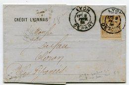 RHONE De LYON DEPART Daguin A1 Sur Sage N°80 Perforé CL Sur LAC Du 09/02/1886 - Marcophilie (Lettres)