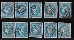 Bordeaux N° 46B X 10 Exemplaires 1er Choix - Cote : 250 € - 1870 Bordeaux Printing