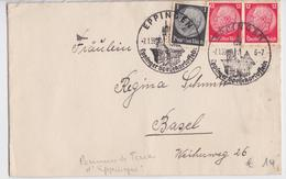 BRIEF EPPINGEN DEUTSCHES REICH 07.01.1939 EPPINGER SPEISEKARTOFFELN BRIEFMARKE STEMPEL NECH BASEL - Allemagne