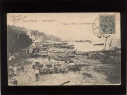 97 Saint Pierre Martinique Plage Et Wharfs De Débarquement édit. Dugas Nantes , Quai Voilier , Précurseur - Martinique