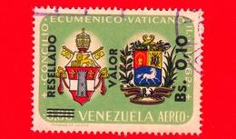 VENEZUELA - Usato - 1965 - Concilio Ecumenico Vaticano II - Stemmi Papale E Venezuelano - Resellado 0.10 Su 0.80 P.aerea - Venezuela