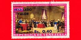 VENEZUELA - Usato - 1965 - 150 Anni Dell'Indipendenza - Firma - Dichiarazione - Resellado 0.40 Su 1.05 Posta Aerea - Venezuela