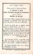Faire-part Décès De Mr Le Baron LOUIS-Joseph De Boukmans Château De Kerkom 10/12/1865 Saint Trond - Décès