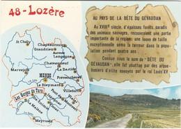 D966 CARTE DE LA LOZERE - LEGENDE DE LA BÊTE DU GEVAUDAN - Carte Geografiche