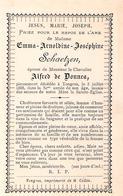 Faire-part Décès De Madame Emma-Joséphine SCHAETZEN  épouse De Chevalier Alfred De DONNEA - Décès