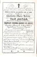 Faire-part Décès De Dame Charlotte Hélène VAN HAVRE Douairière Chevalier Charles DE KNYFF Le 8/3/1859 - Décès