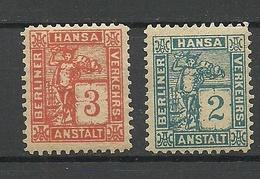 GERMANY Ca 1890 BERLIN Hansa Privater Stadtpost Local City Post Private Post * - Private