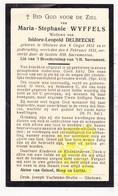 DP Maria S. Wyffels ° Geluwe Wervik 1851 † 1931 X Isidoor L. Delbeecke - Images Religieuses