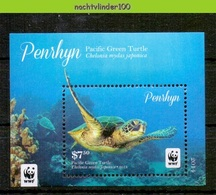 Nfa028 WWF FAUNA REPTIELEN SCHILDPAD PACIFIC GREEN TURTLE REPTILES TURTLE SCHILDKRÖTEN PENRHYN 2014 PF/MNH - W.W.F.