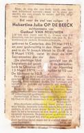 DP Hubertina J. Op De Beeck ° Kasterlee 1911 † Diest 1939 X G. Van Meeuwen / Begr. Okselaar Zichem - Images Religieuses