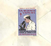 """Enveloppe 1934 Vignette Timbre """"La Science Vaincra"""" Comité Contre Tuberculose - Erinnophilie"""