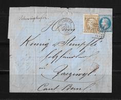 1868 FRANKREICH → Mulhouse à Zäziwyl/Suisse, Petits Chiffres 2578 Napoleon III. 20c Bleu Et 30c Brun - 1863-1870 Napoléon III Lauré