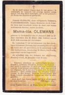 DP Maria Ida Olemans / VanderSmissen ° Korbeek-Lo Bierbeek 1893 † 1908 - Images Religieuses