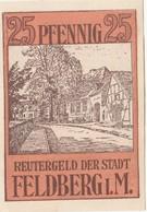 Billet Allemand - 25 Pfennig - Feldberg In Mecklenburg 1922 - Vue De La Rue, Gedicht - [11] Emissions Locales